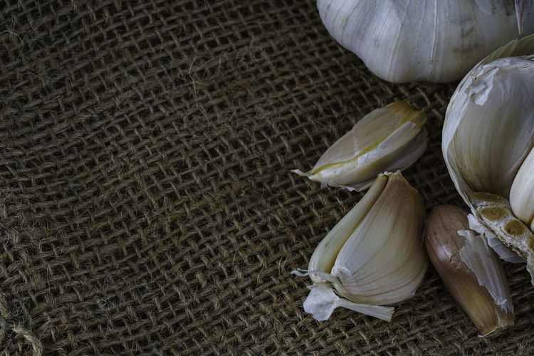 High angle view of garlic