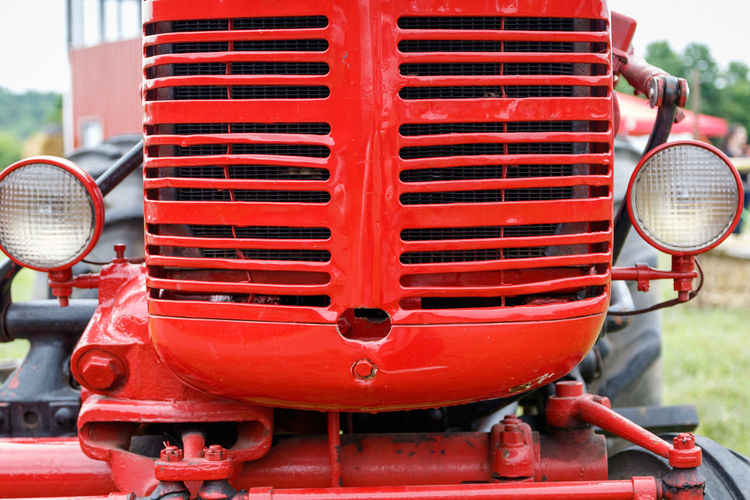 Close-up of red tractor