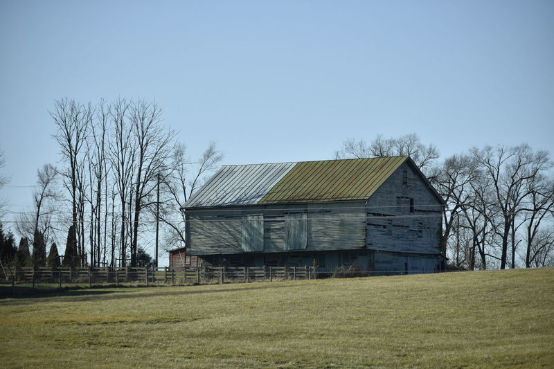 Aged Architectural Barn Agriculture Architecture Art Is Everywhere Bare Tree Barn Building Exterior Built Structure Clear Sky Day Field Grass Nature No People Outdoors Rural Scene Sky Tree