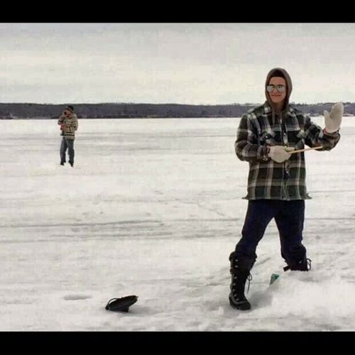 Icefishin  outferarip Bud Friends albertawinter Alberta lakelife fish noluck twistedtea