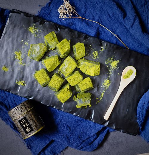 Warabimochi Japanese Food Japanese Sweets Mochi Matcha Matcha Mochi Matcha Warabi Mochi Flatlay View From Above High Angle View Food And Drink Freshness Food Day Green Healthy Food Dessert