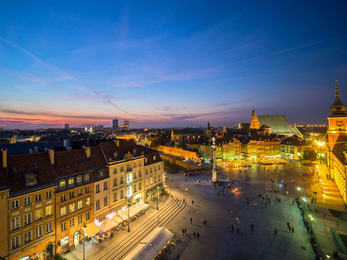 Poland Polska Warsaw Warsaw Old Town Warsaw Poland Warsaw Nights Warszawa  Architecture Building Building Exterior Built Structure Capital Capital Cities  City City Life City Street Cityscape Cloud - Sky High Angle View Illuminated Night No People Poland 💗 Sky Street