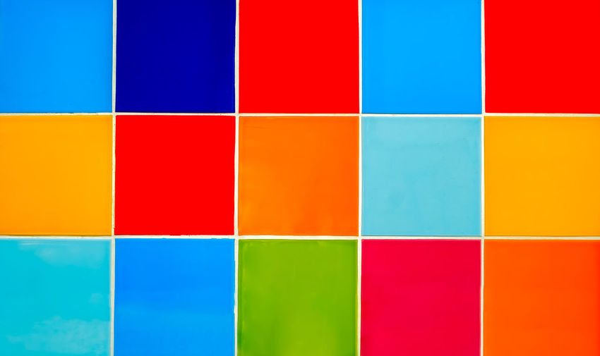 wall of colored tiles Abstract Art And Craft Blue Close-up Color Tiles Day Green Color Multi Colored No People Skill  Tiled Floor Variation Vibrant Color Yellow