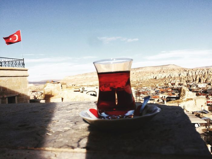 Tea in cappadoccia turkey flag