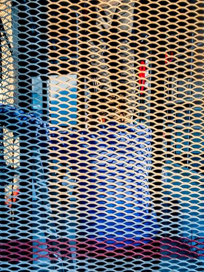 Full Frame Backgrounds Pattern No People Metal Day Outdoors Built Structure Architecture Grid Blue Close-up Multi Colored Textured  Security Detail Protection Safety Grate