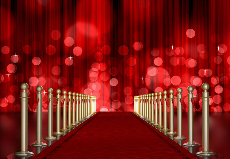 Illuminated lights at red carpet event