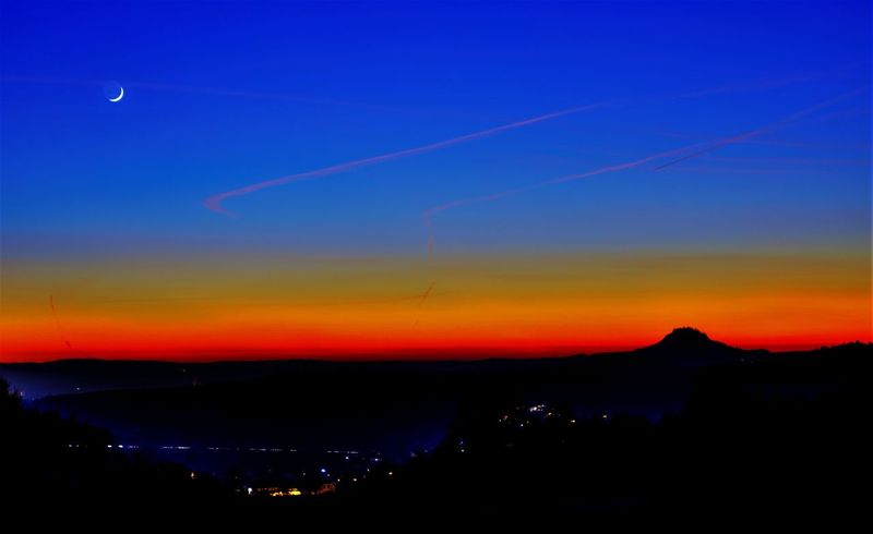 Air Vehicle Airplane Beauty In Nature Blue Hegau Hill Nature Night No People Orange Color Outdoors Scenics Sky Sunset Transportation