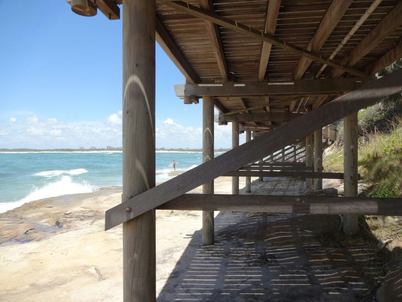 sea, beach, water, pier, wood - material, nature, day, horizon over water, sand, sunlight, sky, scenics, outdoors, underneath, the way forward, beauty in nature, no people