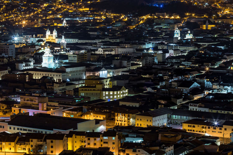 The old city of Quito, Ecuador Architecture Building Exterior Built Structure Cityscape City Night Building Crowded Residential District Illuminated Crowd High Angle View City Life Outdoors Community Travel Destinations Religion Settlement Nightlife Aerial View Colonial Architecture Urban Artificial Light