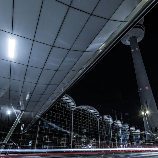 Exhibition Architecture Built Structure Cities At Night City City Life Exhibition Fair Glowing Illuminated Light Beam Light Traces Lights Low Angle View Modern Night Night Photography No People Outdoors Sky Tourism TV Tower