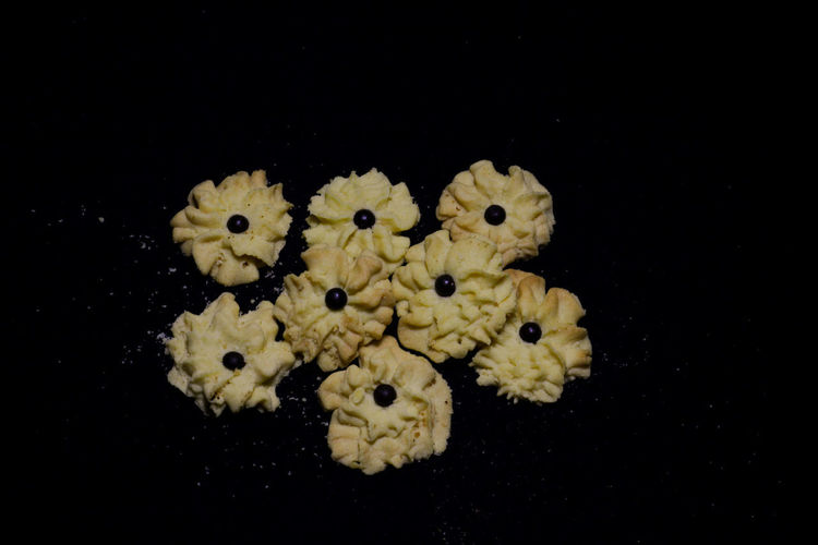 Close-up of yellow flowers against black background