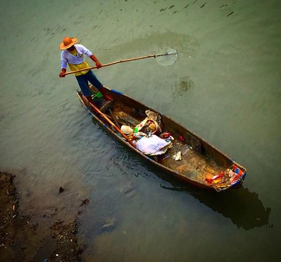 High angle view of man on boat
