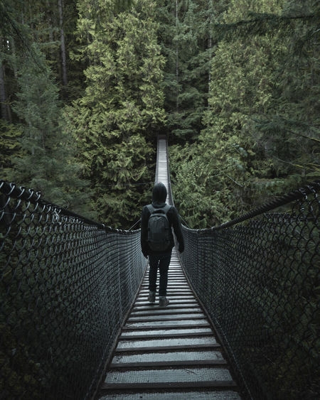 Rear view of man with backpack walking on footbridge in forest