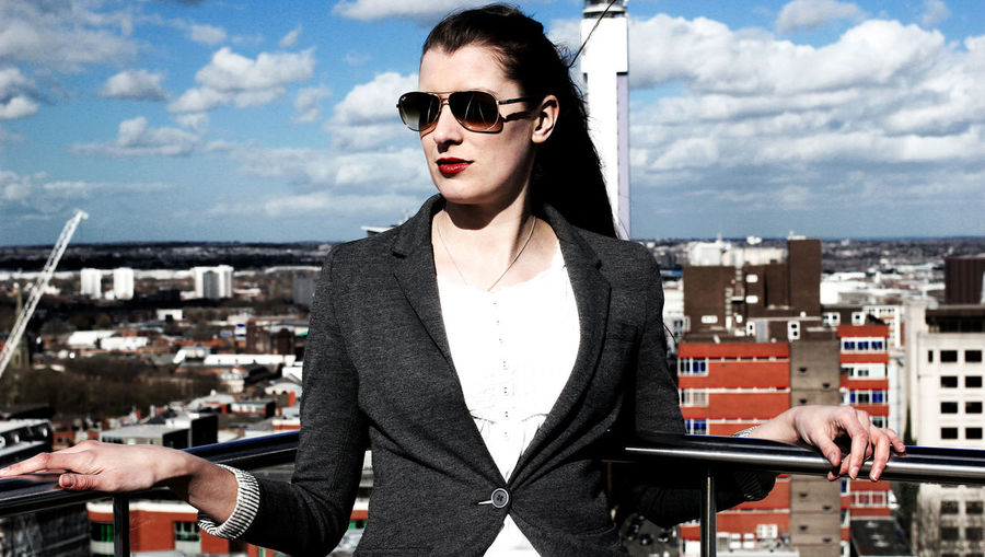 Jamie on the roof in Spring 2015 Beautiful Woman Birmingham Birmingham Library Businesswoman Casual Clothing City England Fashion Portrait Powerful Woman Rooftop Rooftop View  Sky Standing Sunglasses Vibrantlife West Midlands Woman Who Inspire You Young Adult Birmingham City Centre Birmingham UK Stories From The City Adventures In The City