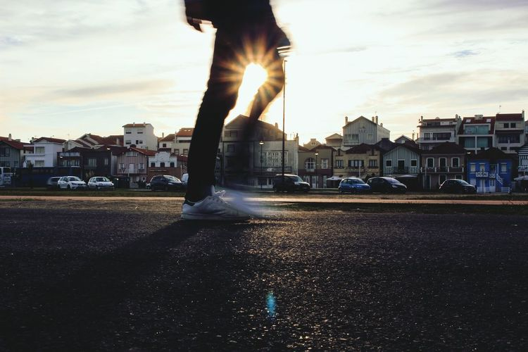 City Human Body Part Street Low Section Motion Day Sky Adult Sunset City Street Outdoors Human Leg