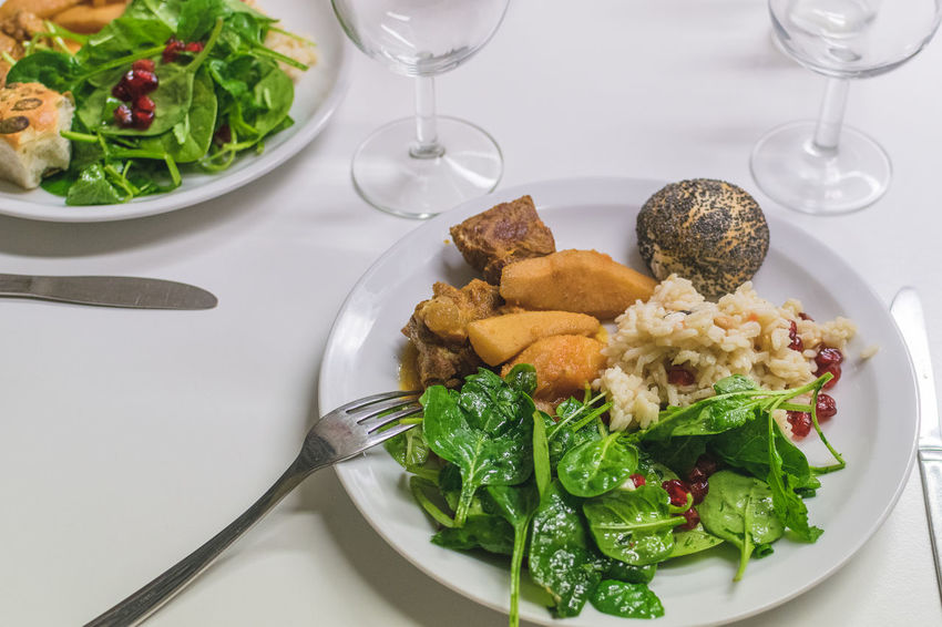 Close-up Cypriot Food Food Food And Drink Fork Freshness Healthy Eating Indoors  Meat No People Plate Ready-to-eat Rice Salad Salad Serving Size Table Wineglass