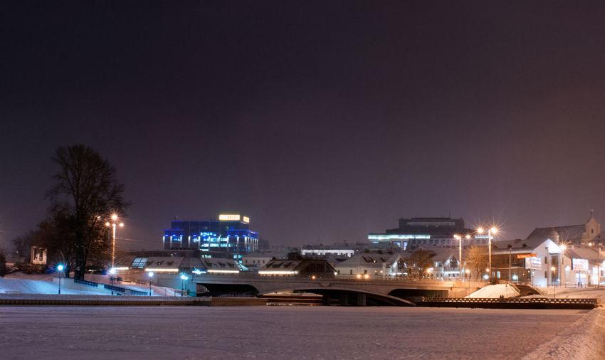 City Lights At Night Minsk,Belarus Nightphotography Winter Architecture Building Exterior City Cityscape Illuminated Night