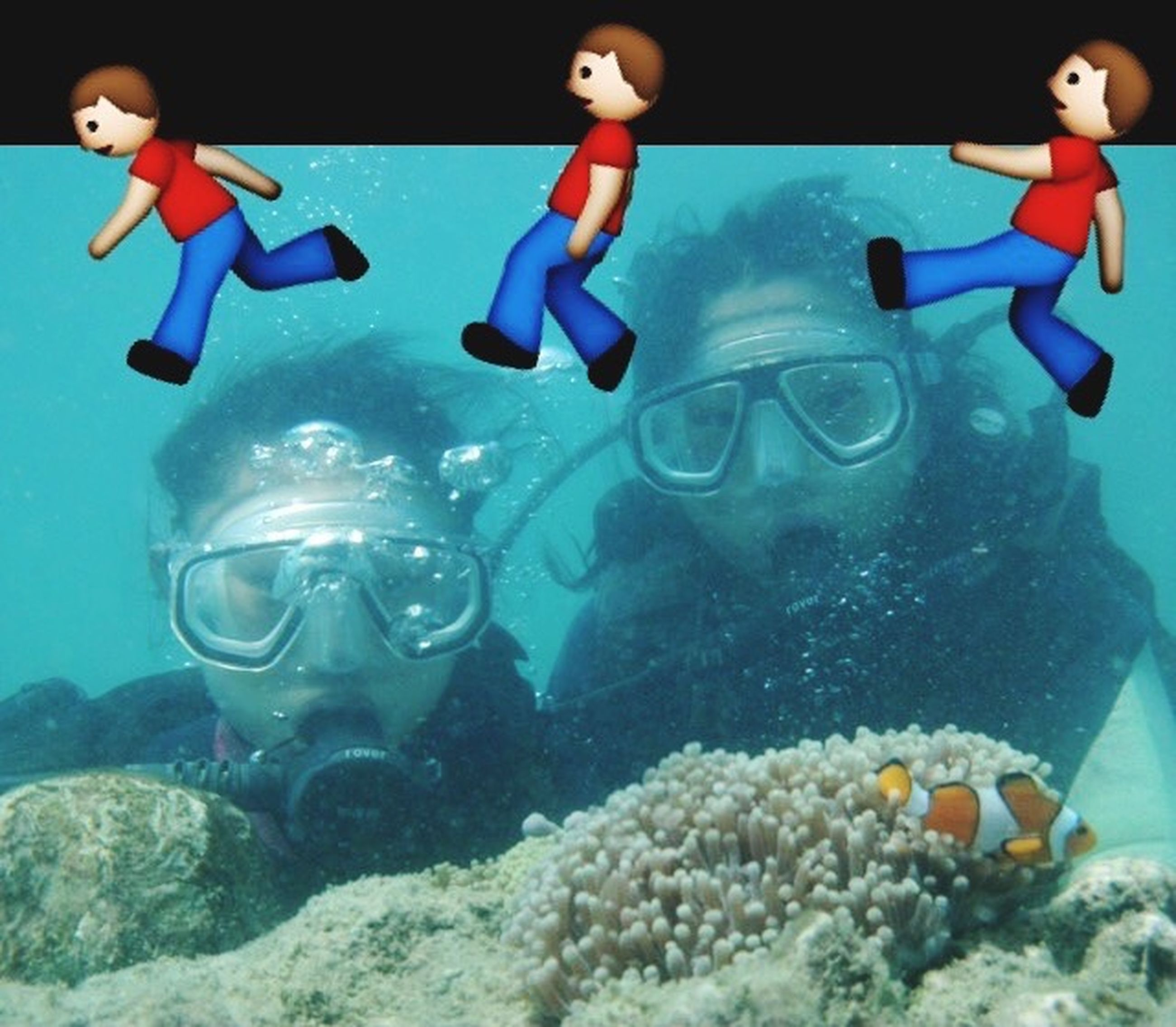 swimming, underwater, water, leisure activity, sea, lifestyles, blue, childhood, full length, undersea, adventure, fun, fish, indoors, toy, enjoyment, mid-air, person
