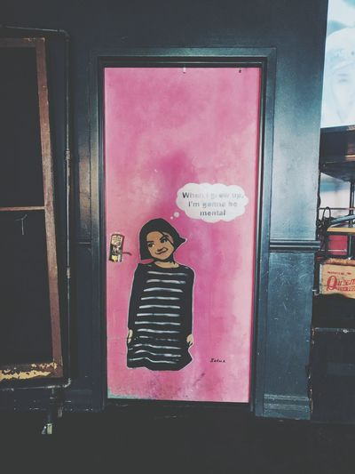 Pink Door Olld Paint Draw Bar Indoors  Kid Baloons Vintage Interior Interior Design Funny Window Human Representation