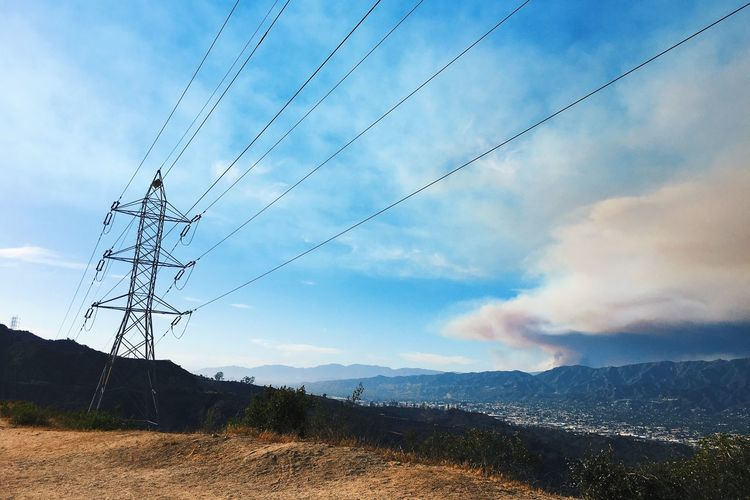 Forest Fire Cable Power Supply Power Line  Sky Electricity  Fuel And Power Generation Cloud - Sky Connection Electricity Pylon Landscape Nature Day No People Outdoors Mountain Scenics Electricity Tower Tranquility Technology Tree Forest Fire