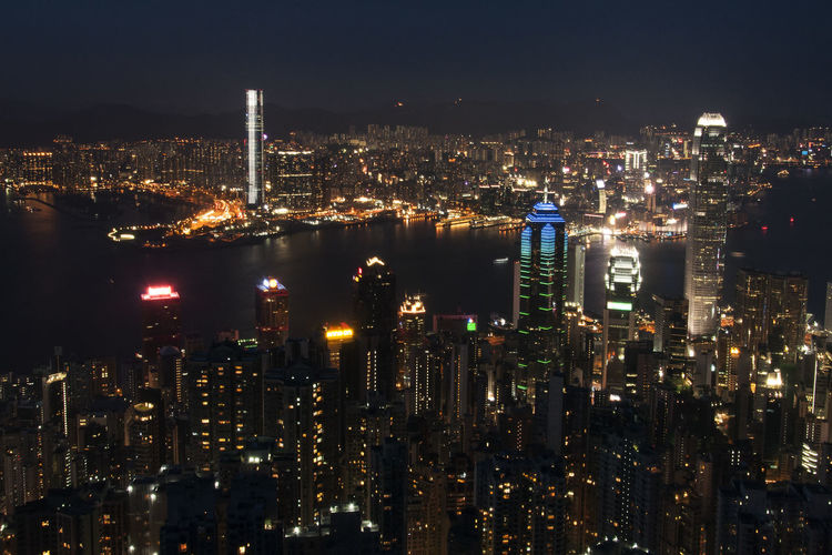 Architecture City City Life Dark Financial District  Illuminated Light Night No People Office Building Outdoors Residential District Tall Tall - High Victoria Harbour A Bird's Eye View Embrace Urban Life
