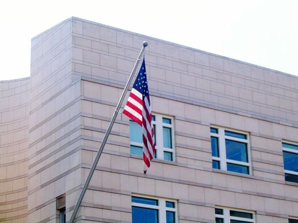 Patriotism Flag Building Exterior Architecture Built Structure Low Angle View Cultures Striped No People Outdoors Office Building Exterior Day Sky USA USA FLAG USA Photos Architecture Berlin Photography Berlin Brandenburg Gate Clear Sky Capture Berlin Reichstag Germany🇩🇪 Futuristic