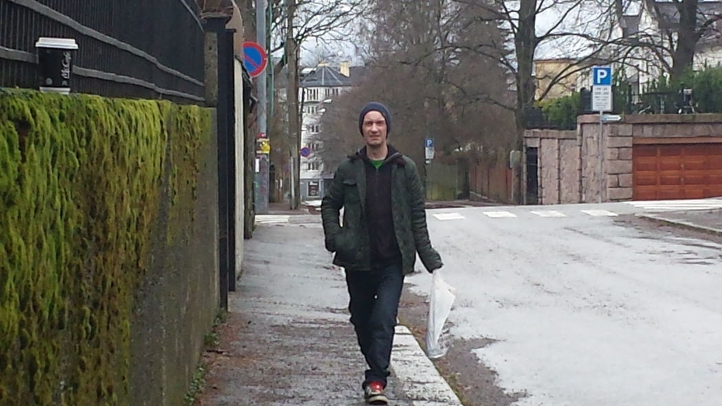 The Purist (no Edit, No Filter) Enjoying Life Rainy Days Rainy Day Oslostreets EyeEm Best Urban EyeEm Best Shots Early Morning Grey Sky Greyscale Street Man Hanging Out Man Walking
