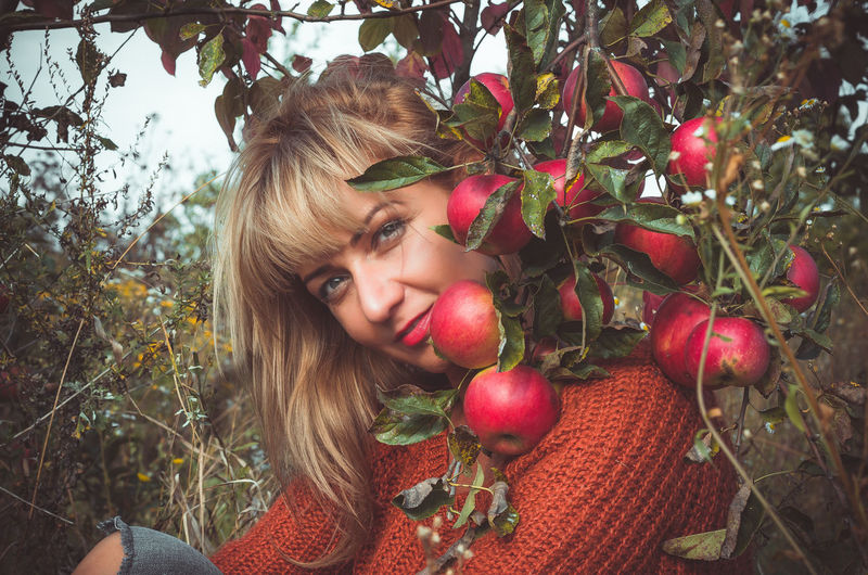 Blond woman sits under a branch of an apple tree with large red apples. The end of the summer. Plant Fruit One Person Food Food And Drink Tree Healthy Eating Portrait Young Adult Lifestyles Leisure Activity Apple - Fruit Growth Young Women Real People Women Nature Plant Part Hair Beautiful Woman Hairstyle Outdoors