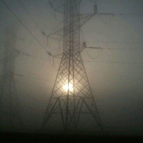 The heavy fog this morning Fog Sunrise Sun Powerline tower electric morning