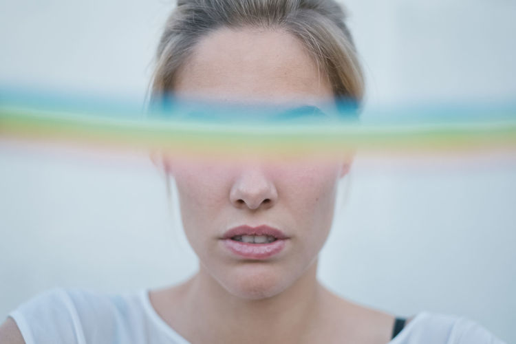 Rainbow Rainbow Rainbow Colors Rainbow🌈 Women Blond Hair Blonde Girl One Person Headshot Front View Portrait Close-up Indoors  Human Body Part Childhood Eyes Closed  Body Part Child Focus On Foreground Human Face Males  Selective Focus Adult Casual Clothing Innocence Pre-adolescent Child Contemplation
