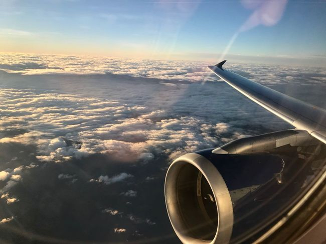 Looking west! Airplane Aerial View Transportation Mode Of Transport Air Vehicle Cloud - Sky Sky No People Journey Airplane Wing Jet Engine Nature Flying Day Aircraft Wing Sea Scenics Beauty In Nature Travel Mid-air Delta Airlines Travel Photography