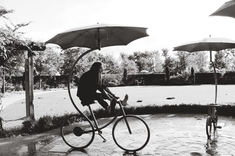 Velo Bicycle Enjoy Nature Umbrella Blackandwhite