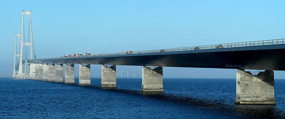 Bridge above sea against clear sky