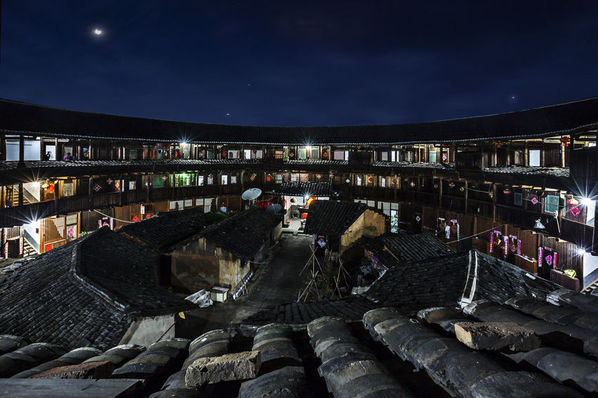 Ancient Buildings Distinctive Buildings Famous Tourist Attractions Yongding, Fujian Hakka Soil Building Night Photography Architecture Building Exterior Built Structure Moon Night Nightscape Sky
