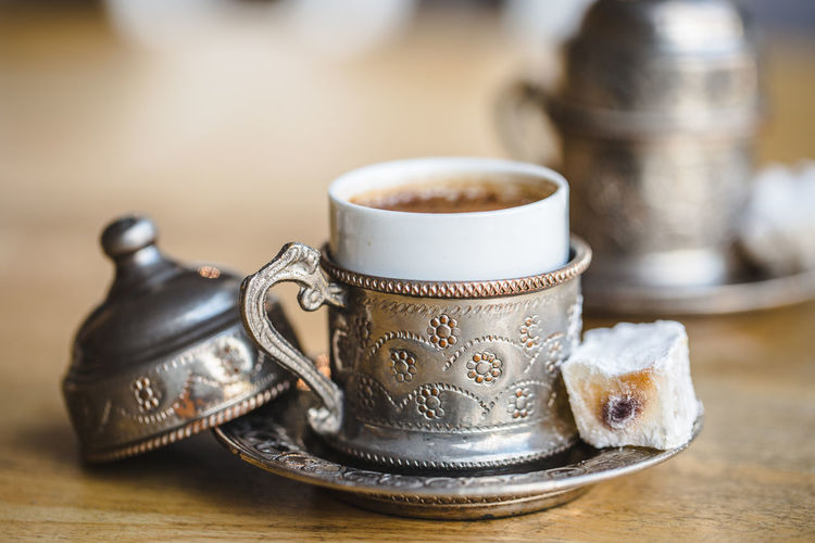 Turkishcoffee Coffee Coffee - Drink Coffee Cup Coffee Time Coffee Break Turkish Turkish Coffee Turkish Delight Turkish Food Metal Cup Dark Coffee Strong Coffee Engraved Ornate Fika Break Breakfast Brew Espresso Cup Still Life Mug Drink Food And Drink Close-up Indoors  No People Focus On Foreground Table Refreshment Selective Focus Metal Antique Crockery Silver Colored Ceramics Tray Caffeine Frothy Drink Antique Snack