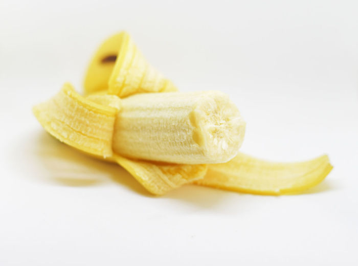 Ripe banana isolated on white Close-up Day Food Food And Drink Freshness Healthy Eating No People Studio Shot White Background Yellow