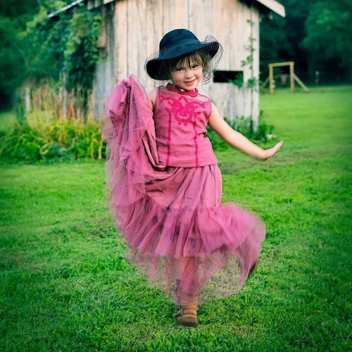 The Portraitist - 2019 EyeEm Awards Child Full Length Childhood Smiling Girls Pink Color Tiara Dress Grass Yard Preschooler Lawn Dancer Tiptoe Traditional Dancing