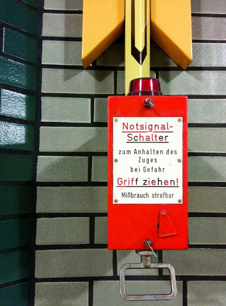 Notes From The Underground Red German Stuff Sign Notfall : Ubahn Berlin
