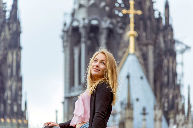Adult Adults Only Architecture Beautiful Woman Blond Hair Casual Clothing Day Focus On Foreground Happiness Leisure Activity Long Hair One Person One Woman Only One Young Woman Only Only Women Outdoors People Sky Smiling Women Young Adult Young Women Dom Kölner Dom Köln Place Of Heart