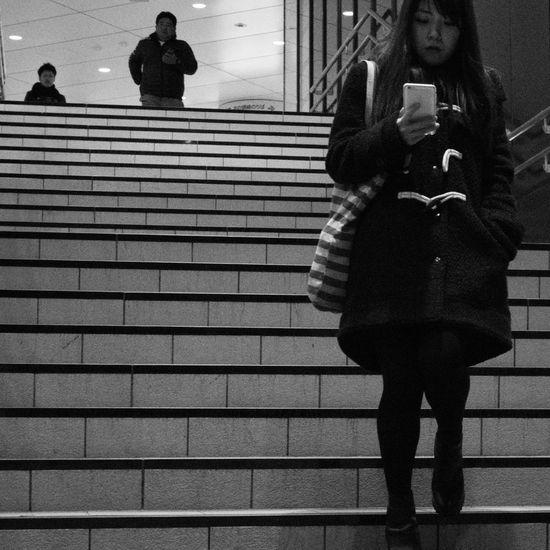 Streetphotography Snapshots Of Life Street Snapshot Winter Streetphotography_bw B&w Street Photography Night People City Street City Life Nightphotography Blackandwhite Stairs Kichijoji 吉祥寺 , Tokyo