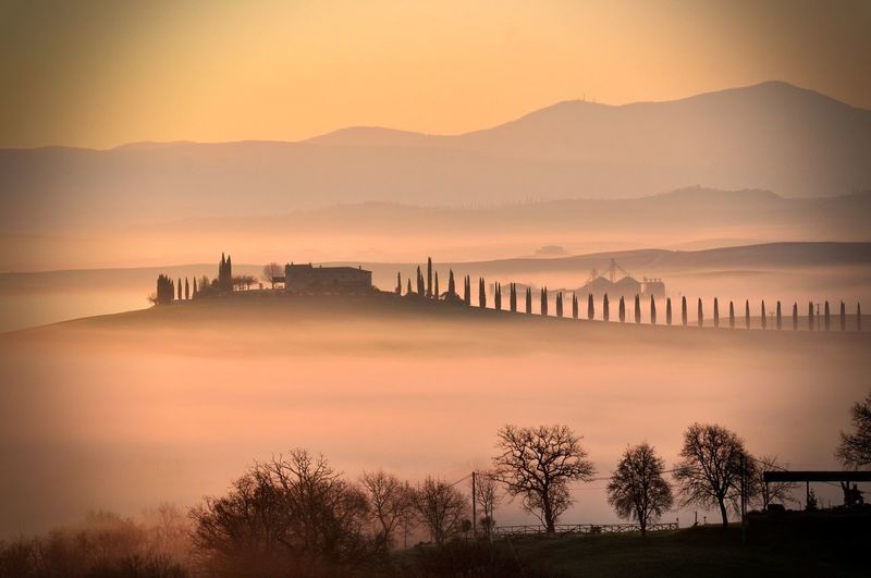 quite Architecture Beauty In Nature Bridge - Man Made Structure Building Exterior Built Structure Dawn Fog Foggy Landscape Foggy Morning Foggy Weather Mountain Nature Nature Nature Photography Outdoors Scenics Silhouette Sky Sky And Clouds Sun Sunset Tranquility Travel Destinations Tree Water