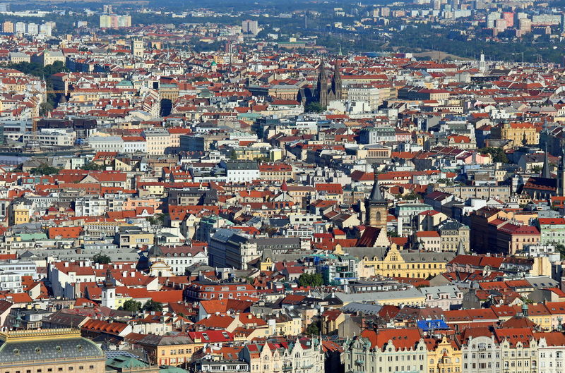Prague is the capital of czech republic in europe. aerial view with many houses