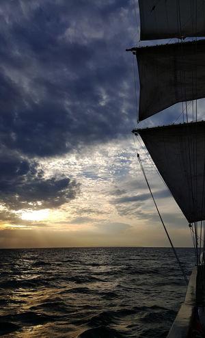 Sailing Ship Tall Ships Cloud - Sky Clouds Horizon Over Water Nautical Vessel Night Rail Sailing Scenics Sea Sunddown Tall Ship Details Water Yards