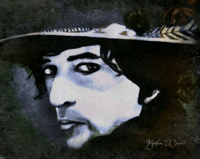 'Portrait of Bob Dylan' acrylic painting My Painting Playing With Apps  2006 Collection Eye Liner Early Days Like A Rolling Stone Complete Unknown No Direction Home Jakob's Dad Portrait Art