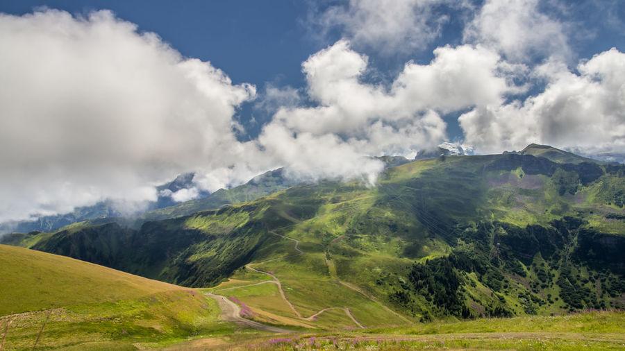 Mountain Rural Scene Sky Landscape Cloud - Sky Grass Mountain Range