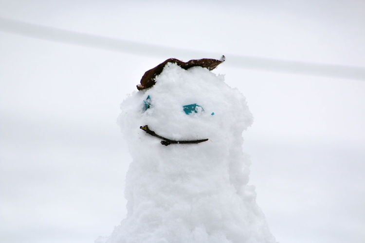 Close-up of snowman on snowy field