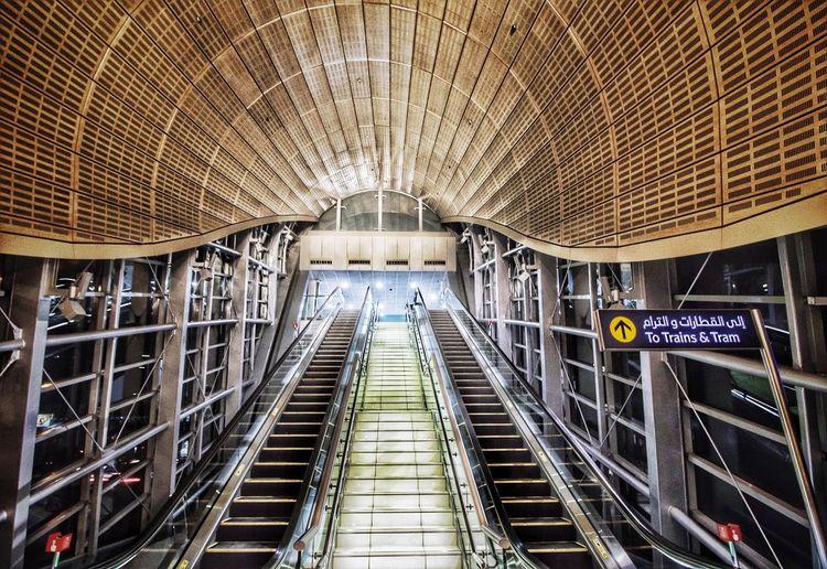 The Architect - 2017 EyeEm Awards Architecture Built Structure Transportation Indoors  Subway Station The Way Forward Subway Train Modern Illuminated No People Day Futuristic City Dubai UAE Dubai Metro Station