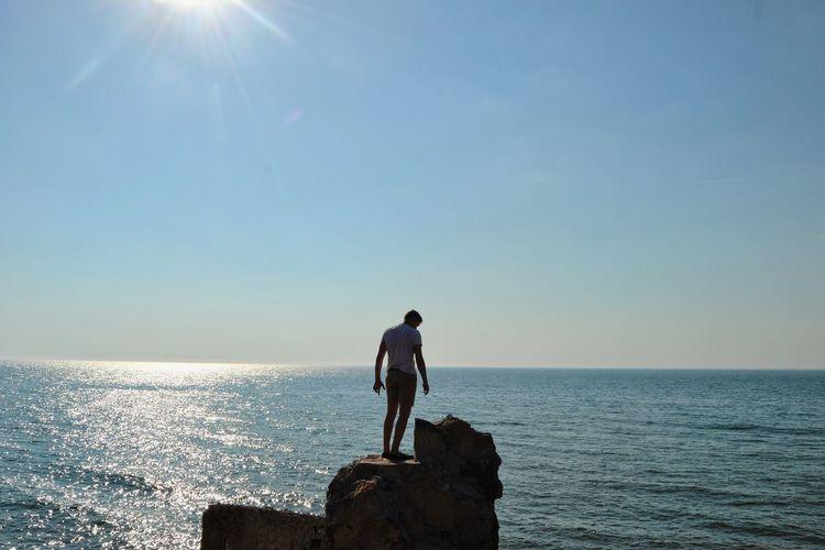 Full Length Sea Men Blue Beach Sunlight Sun Sky Horizon Over Water Tranquil Scene Silhouette Ocean Tranquility