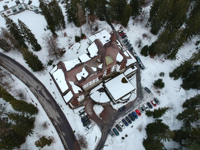 Above the Sunstar Alpen Hotel - Flims, Switzerland 2018 Road Snow Snowroad Road Snow Dji Spark DJI X Eyeem Dji Birdseyeview Forest Forest Photography Hotel Sunstar High Angle View Day No People Tree Outdoors Snow Puddle Close-up Nature