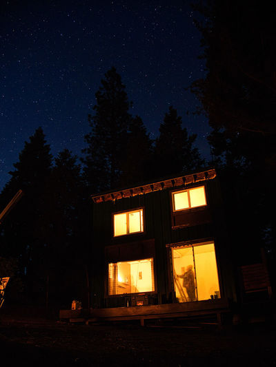 Camping Camping Life Astronomy Built Structure Cabin Dark Illuminated Long Exposure Long Exposure Night Photography Nature Night Outdoors Silhouette Sky Star Star - Space Tree